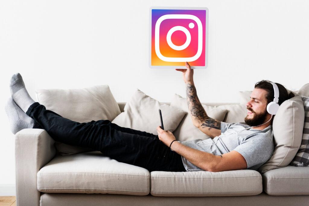 Man Shopping on Instagram