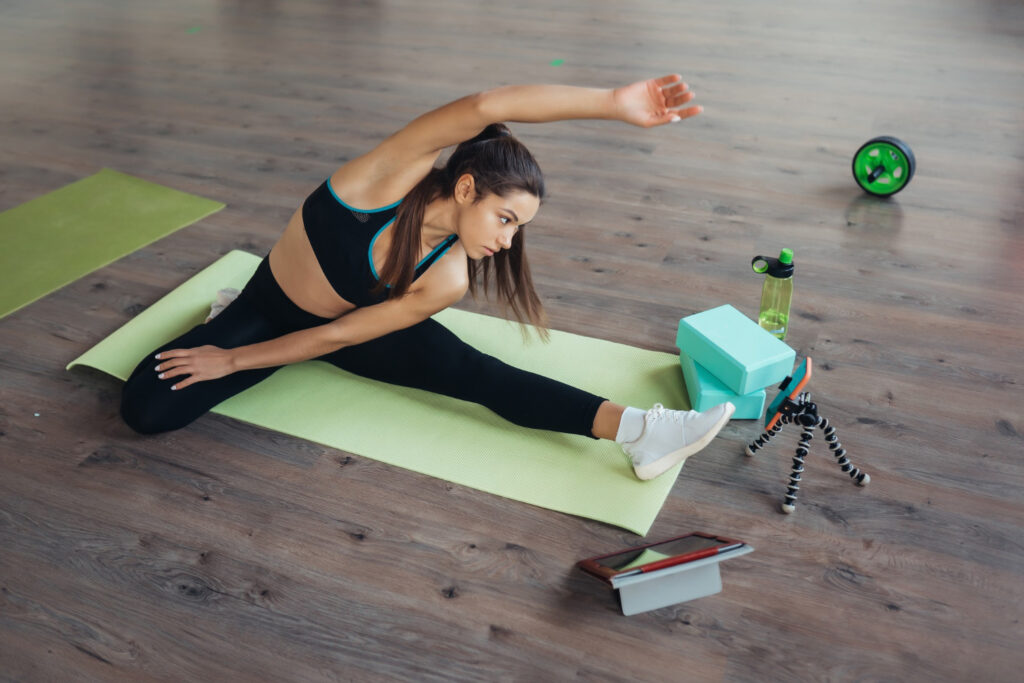 Young Woman Online Yoga Class